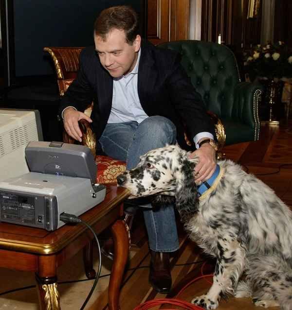 دیمیتری مدودف به همراه یکی از سگ هایش